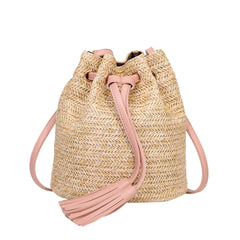 Women Solid Color High Capacity Weave Tassels Shoulder Bucket Bag Lady rattan bag
