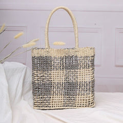 New Women Hand-Woven Rattan Bag Lady Straw Purse Wicker Crossbody