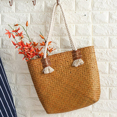 Vintage Straw Woven Shoulder Bag