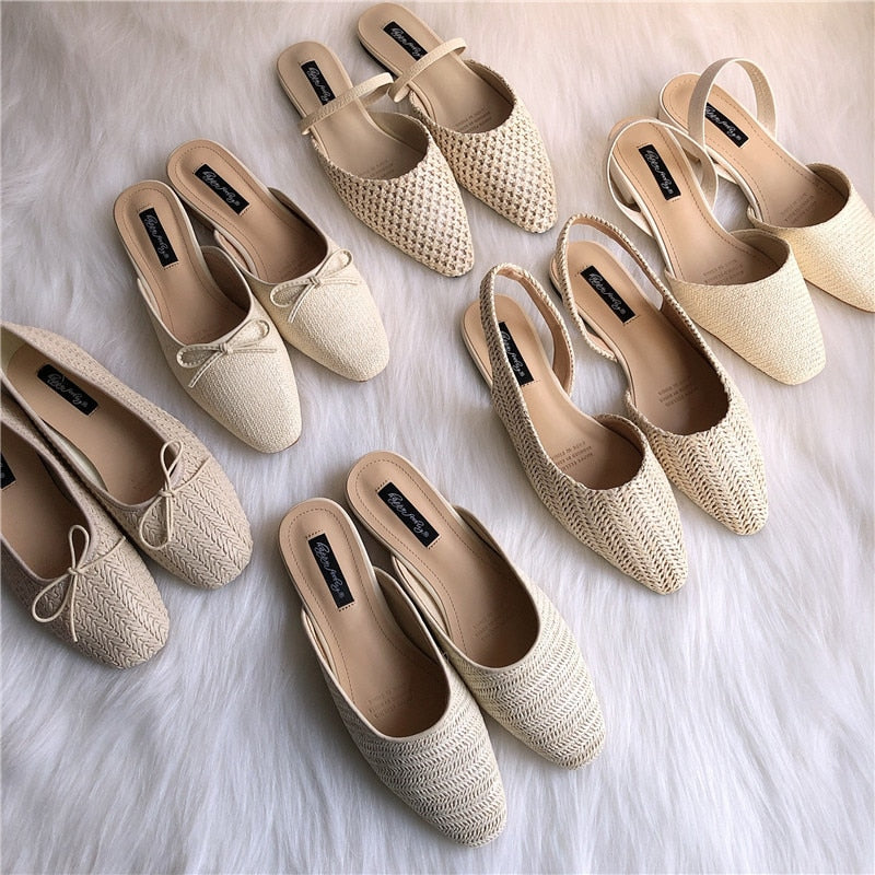 6 style Summer shoes handmade cane weave