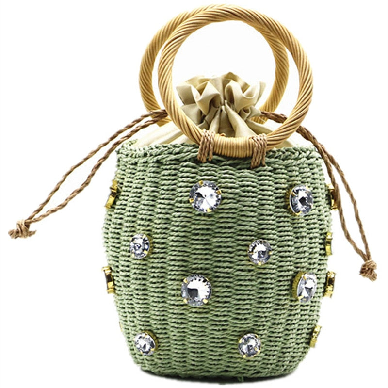 Rattan handle woven women bag