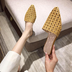 Women's Pointed Toe Low Heel Slippers Flat Shoes Slides