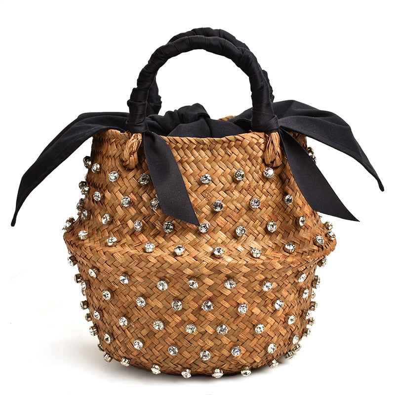 Diamond Bag Designer Handmade Embellished Straw