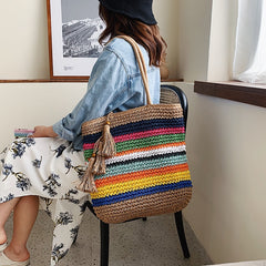 Bohemian Colorful Straw Handbag