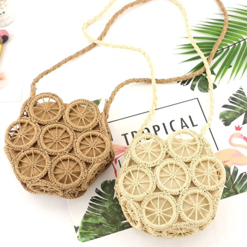 Summer Hollow Handmade Round Straw bag