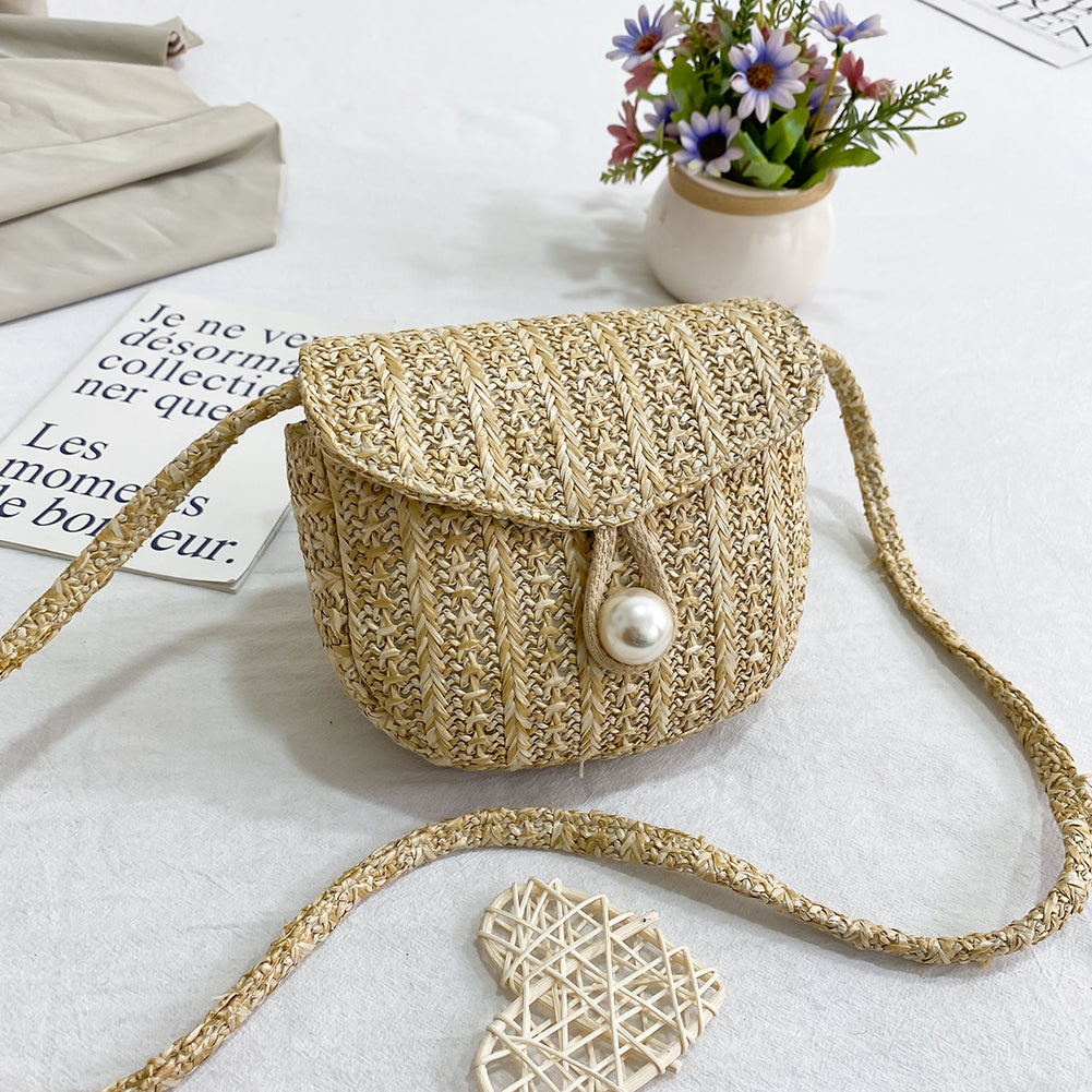 Pearl Ladies Woven Bucket Straw Bag 2020