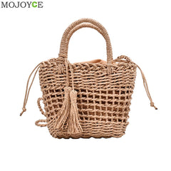 Rattan Women Crossbody Shoulder Bag Woven Straw Summer Ladies Messenger Handbag Retro Women Rattan Shoulder Purse