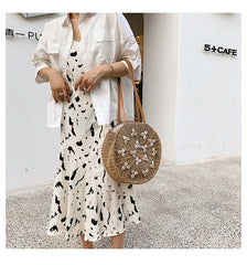 Shell Appliques Round Straw Bag Summer