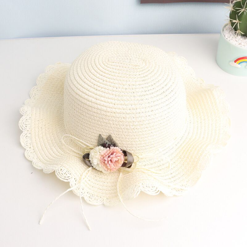 Straw Hat Cute Sweet Flowers