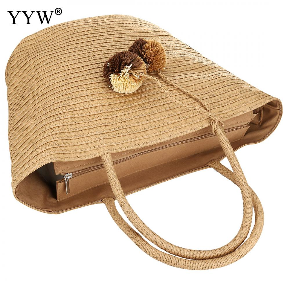 New Wrapped Beach Bag With Fur Ball