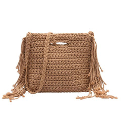 Handmade Woven Square Straw Bag Vintage