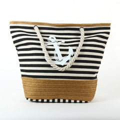 2020 Summer Anchor Strips Printing Canvas Tote Bag