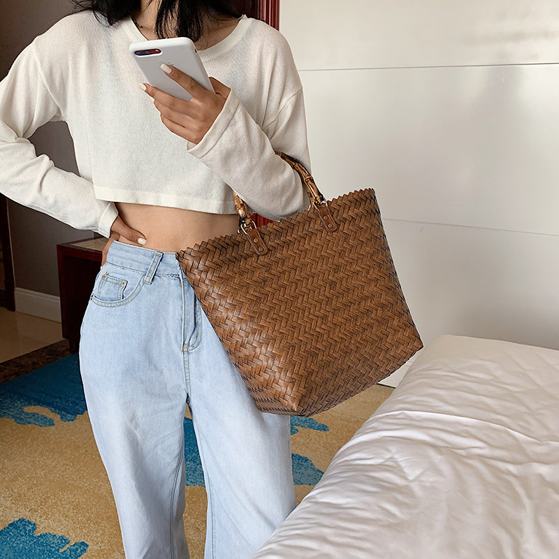 Casual Rattan Women Handbag Bamboo Handle Wicker Woven