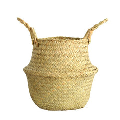 Seagrass Wicker Basket Flower Plants
