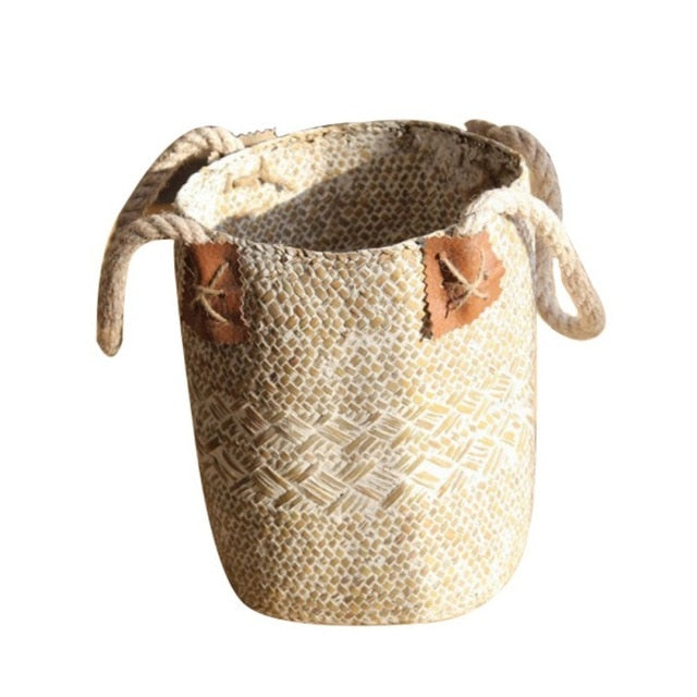 Home Garden Foldable Seagrass Laundry Basket