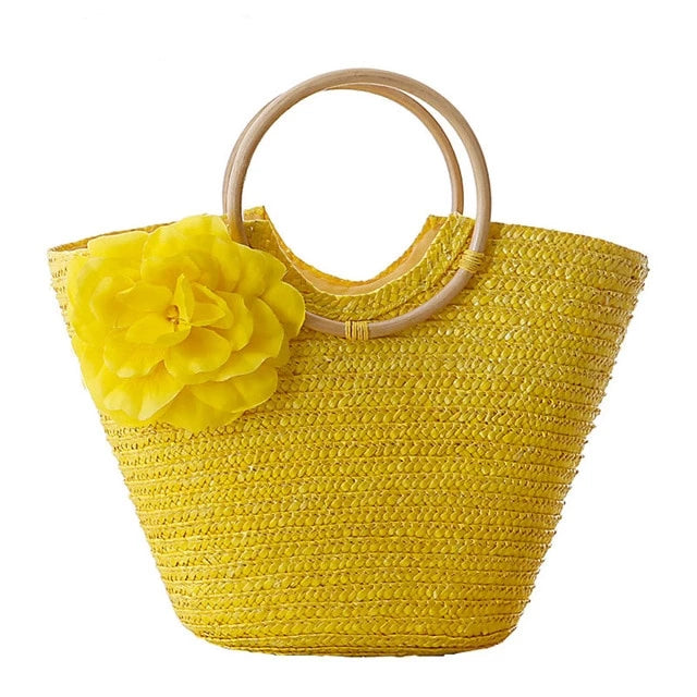 Rattan handmade Flower Bag