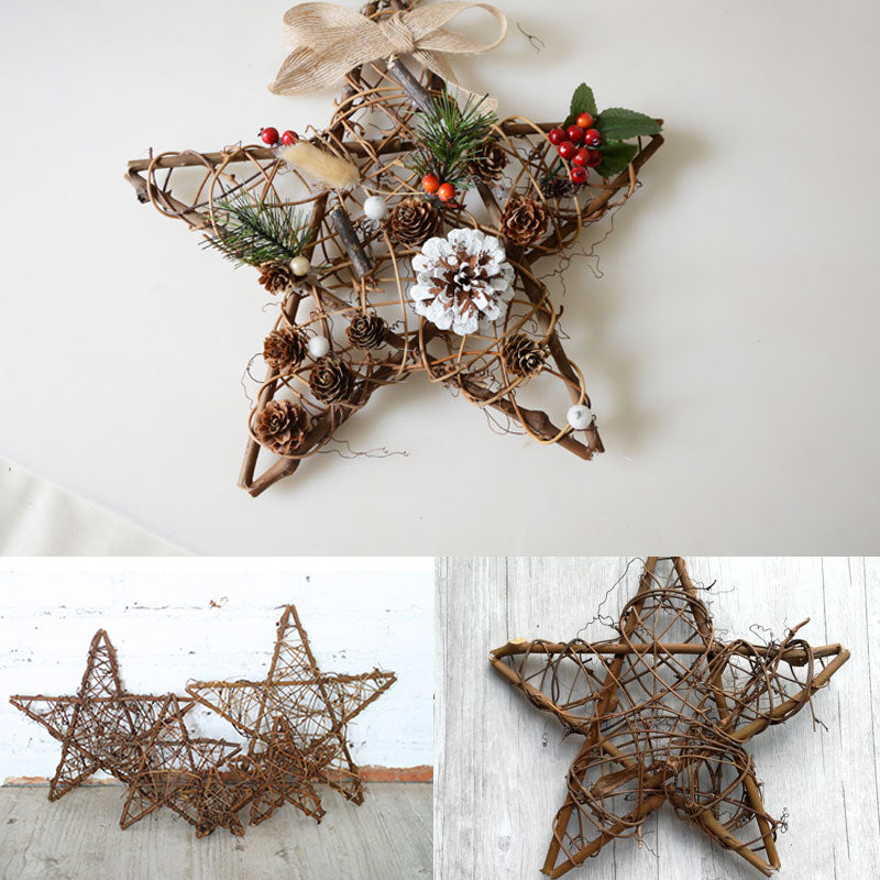 Rattan Christmas Door Hanging Decoration Pentagram-shaped