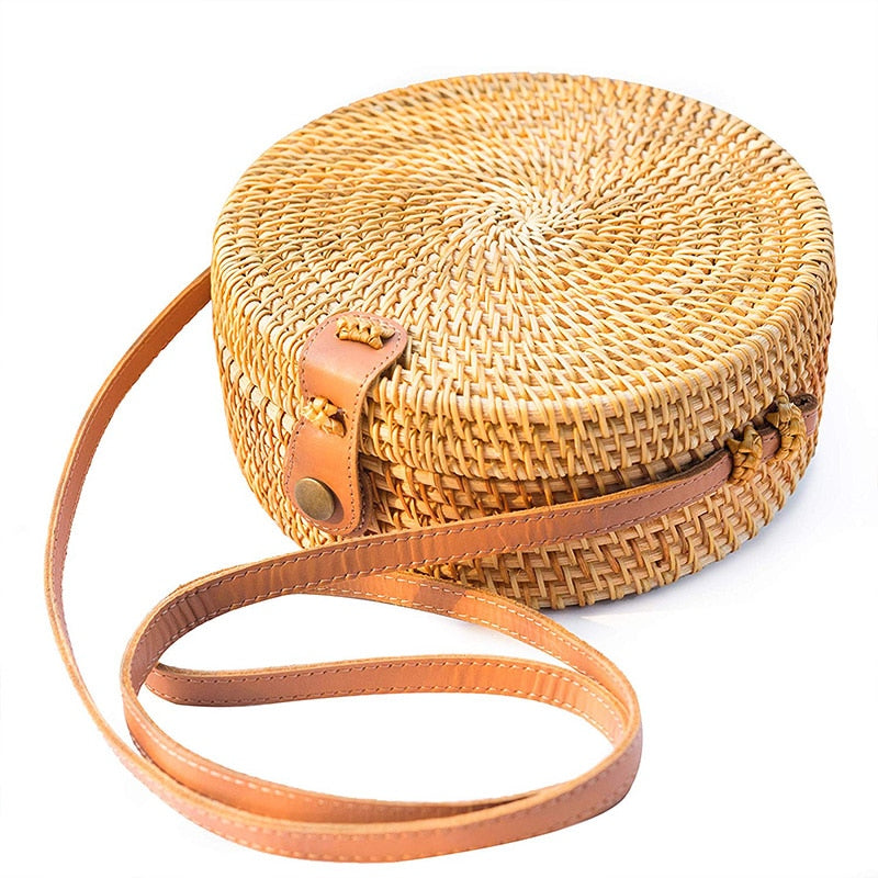 Harvest Round Woven Ata Rattan Bag straw beach bag
