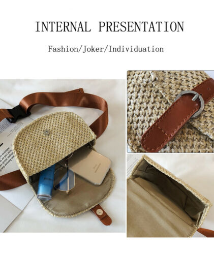 Women Rectangle Straw Shoulder Bags Rattan