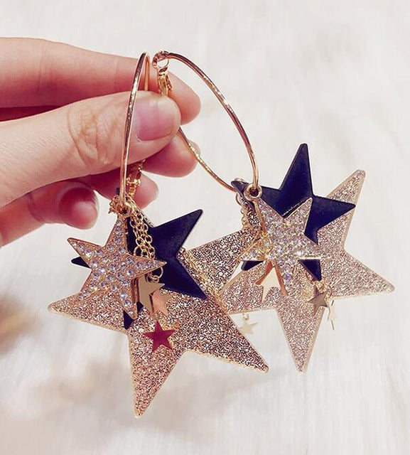 Stylish stars Long Drop earrings - Sleekily