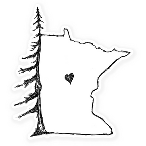Pine MN Heart Vinyl Sticker