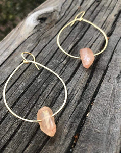 Rhiannon Saunders Workshop Hammered Brass and Crystal Earrings