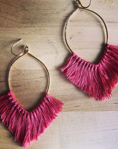 Rhiannon Saunders Workshop Hammered Brass and Tassel Earrings