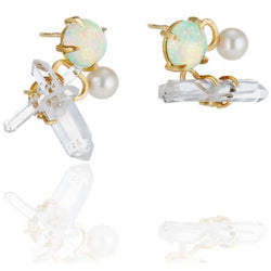 Best Colored Earrings Fine Jewelry studs opal quartz crystal Hand Crafted Couture bespoke custom Drop Earrings cuff earring pearl New York times New York Moda operandi kardashian pearls