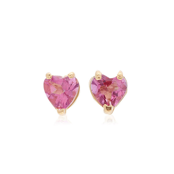 Tinsy Tiny Heart 18k Gold and Pink Topaz Earrings