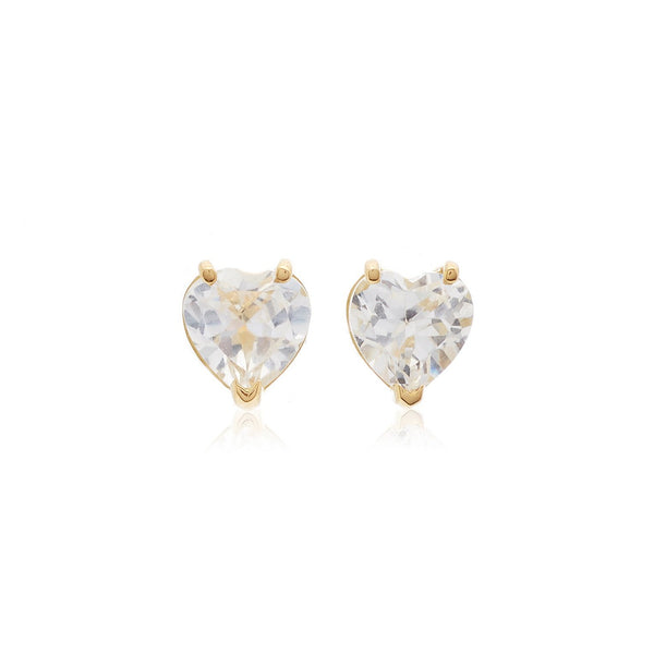 Tiny Heart 18k Gold and White Topaz Earrings