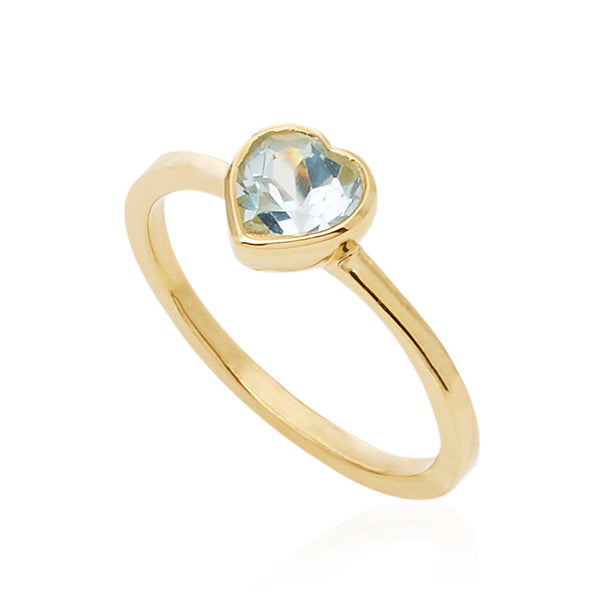 Tiny Blue Topaz Heart Ring