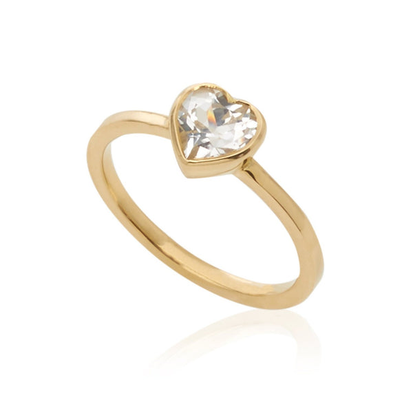 Tiny White Topaz Heart Ring