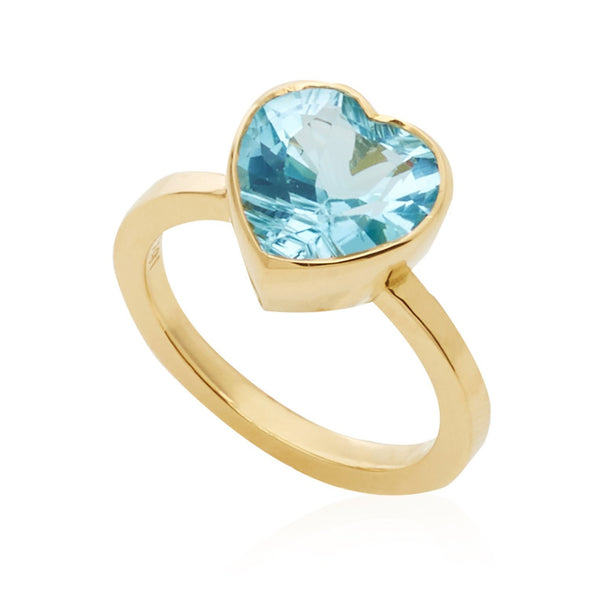 Large Blue Topaz Heart Ring
