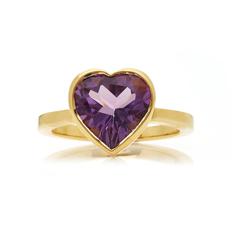 Large Amethyst Heart Ring