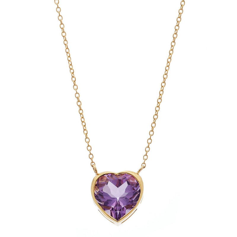 Large Amethyst Heart Necklace