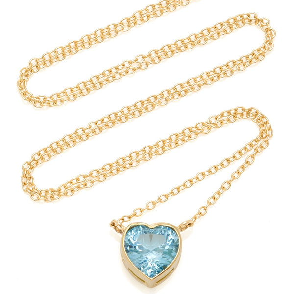 Large Blue Topaz Heart Necklace