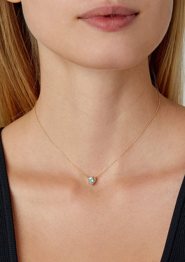 Tiny Blue Topaz Heart Choker