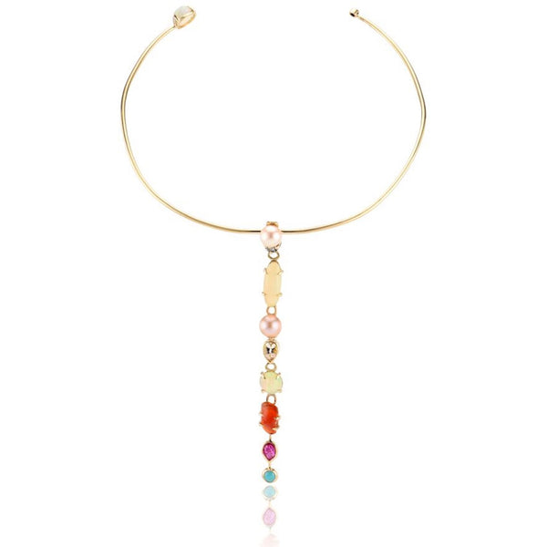 Best Colored necklace Fine Jewelry Hand Crafted Couture bespoke custom drop choker cabochon turquoise faceted ruby Mexican fire opal Ethiopian opal faceted rock crystal pear freshwater pink pearl Ethiopian opal tanzanite