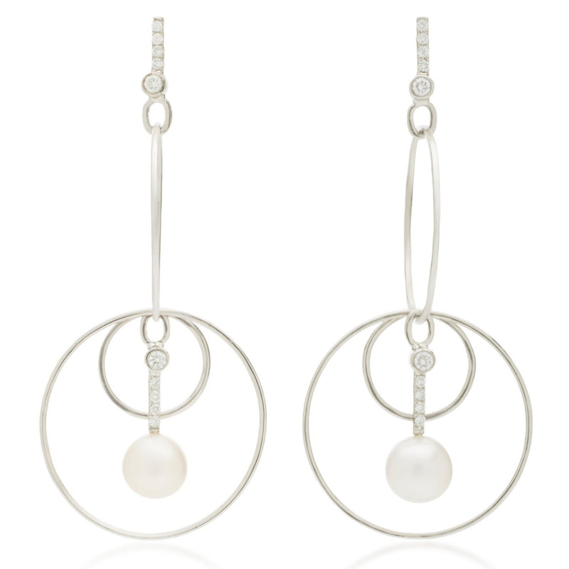 Pearl & Diamond Drop Hoop Earrings 18k White Gold