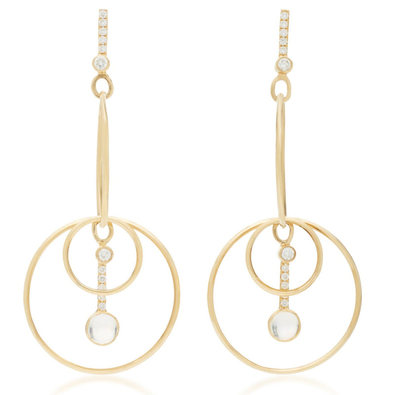 Drop Hoop Earrings Rainbow Moonstone & Diamond 18k Yellow Gold