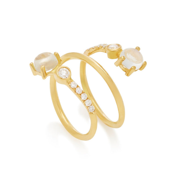 Twist Ring Rainbow Moonstone & Diamond 18k Yellow Gold
