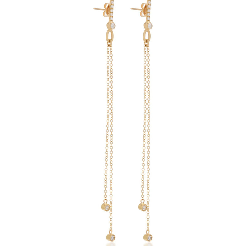 Diamond Thread Earrings 18k Yellow Gold