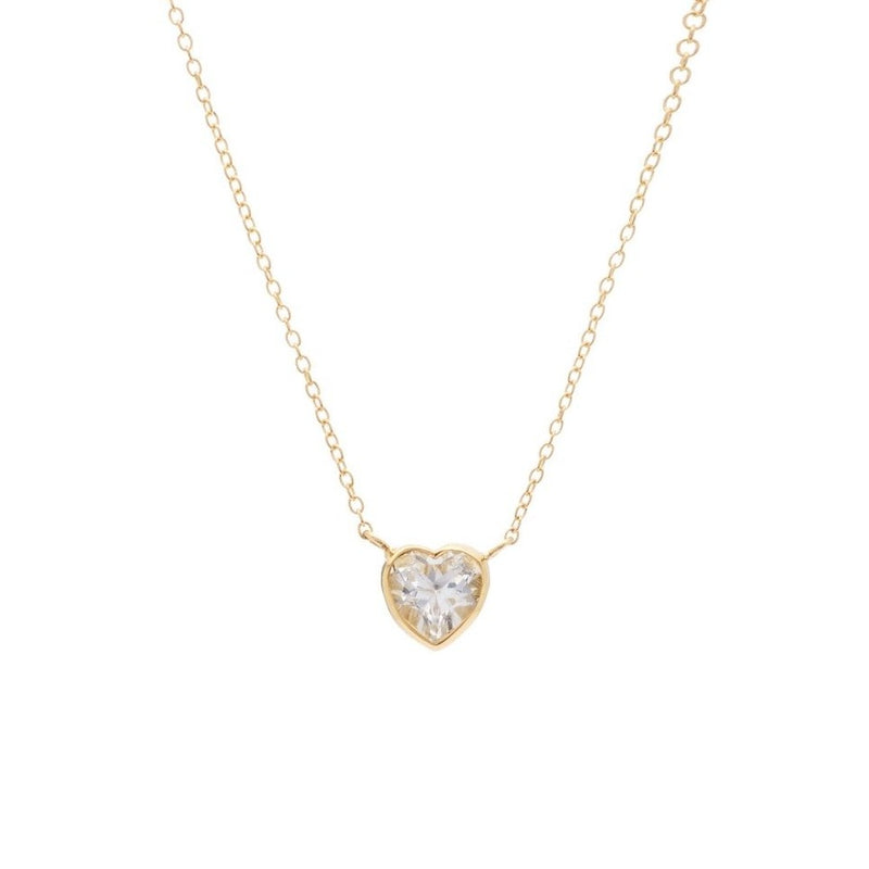 Tiny White Topaz Heart Choker