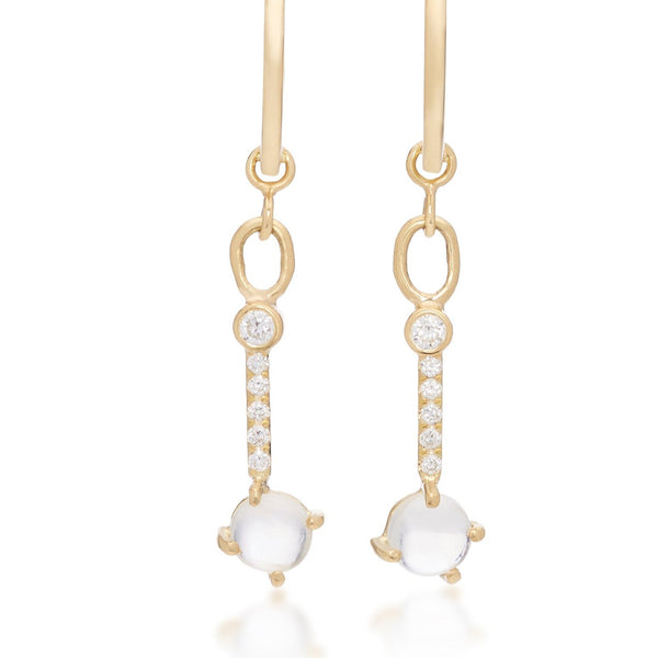 Rainbow Moonstone & Diamond Hoop Earrings 18k Yellow Gold