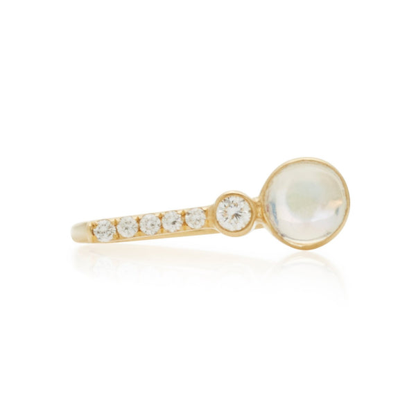 Rainbow Moonstone & Diamond Ring 18k Yellow Gold