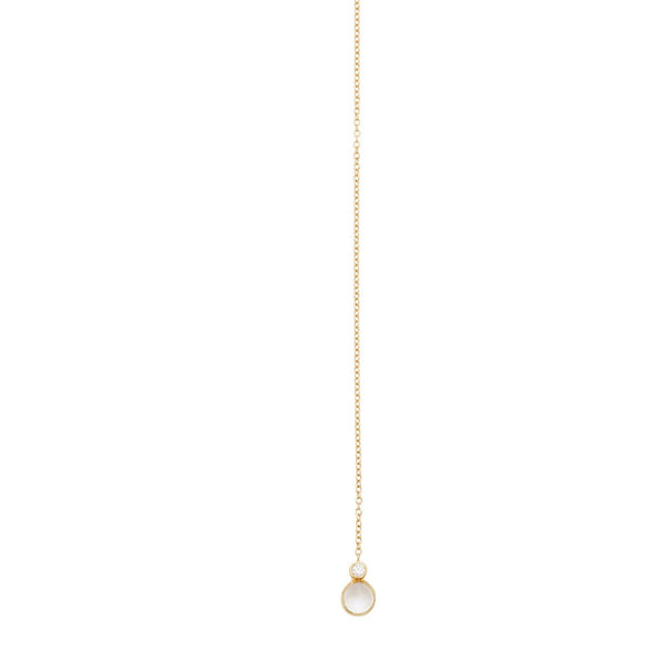 Lariat Choker Necklace Rainbow Moonstone & Diamond 18k Yellow Gold