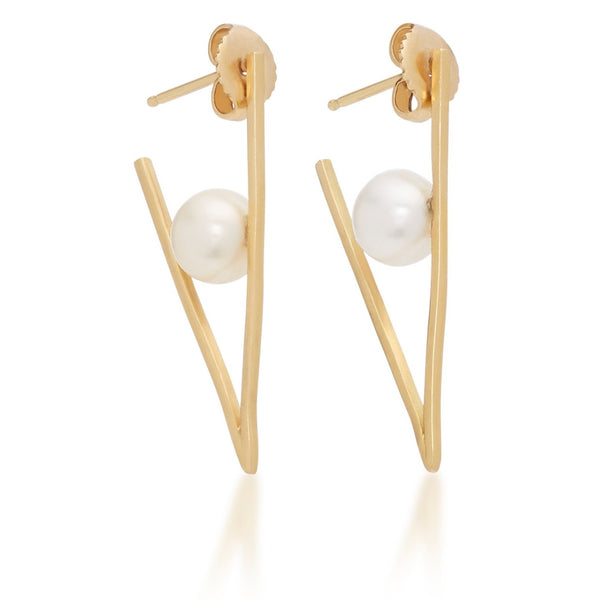 Triangle Hoop Earrings White Pearl 18k Yellow Gold Medium