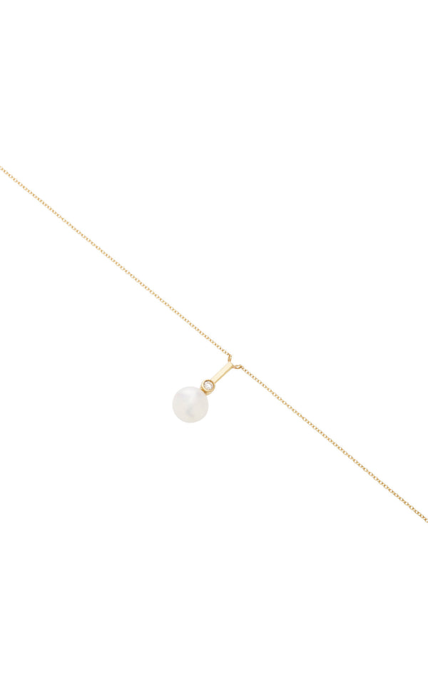 Pearl & Diamond Necklace 18k Yellow Gold