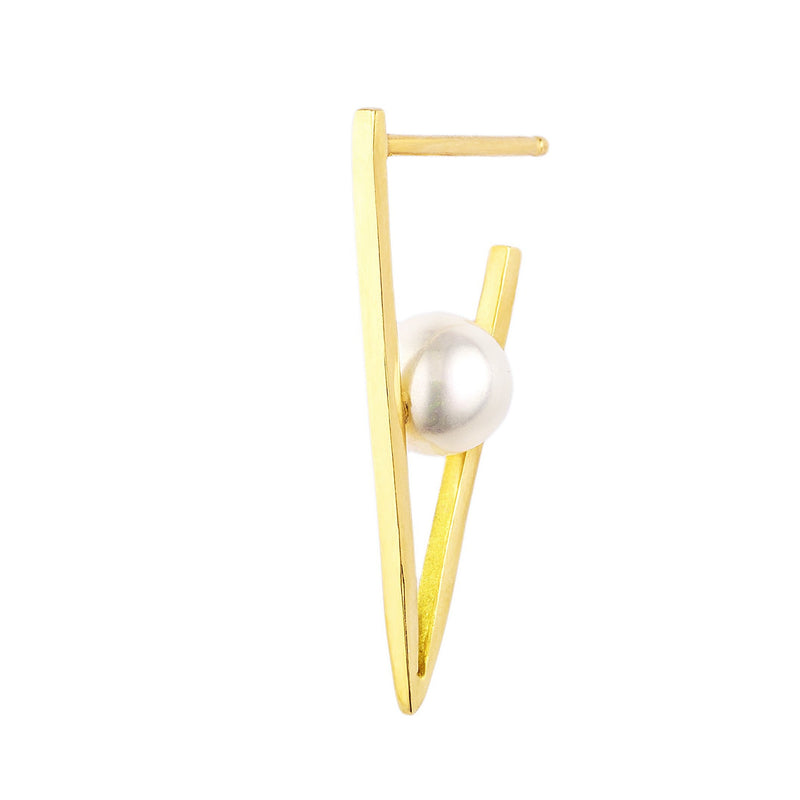 White Pearl Triangle Hoop Single Earring Small