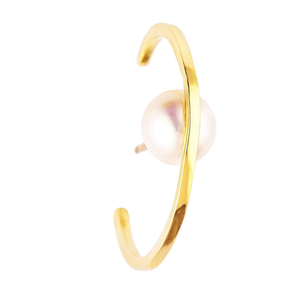 Yellow Gold & Pearl Single Orbit Ear Cuff